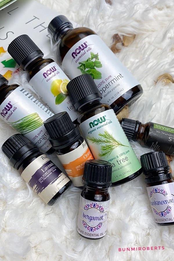 peppermint oil, lavender oil, lemongrass, frankincense, bergamot, tea tree,  orange essential oils