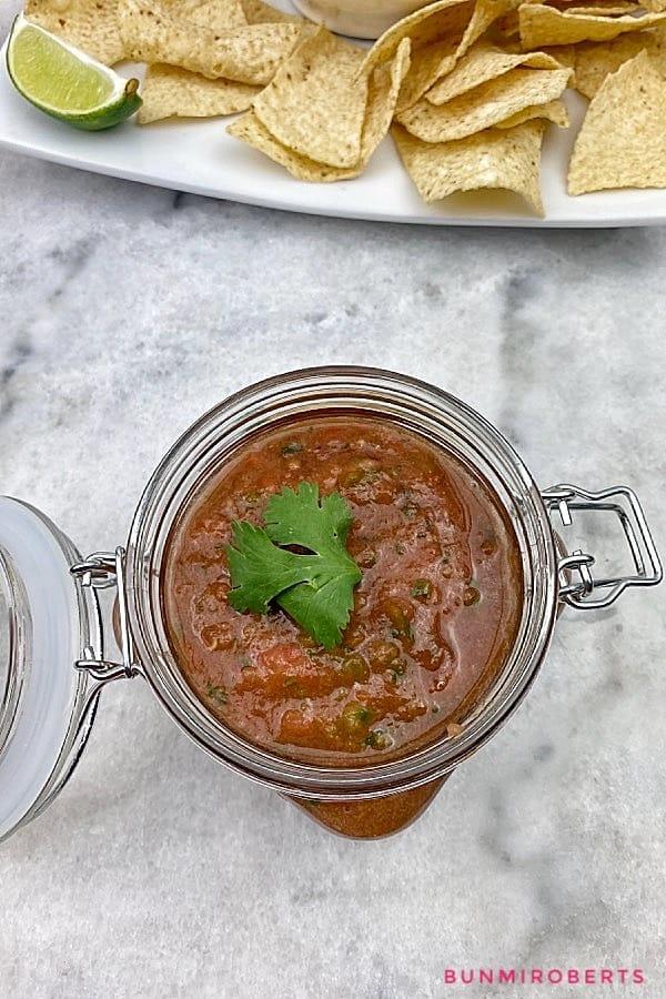 spicy salsa in a glass jar