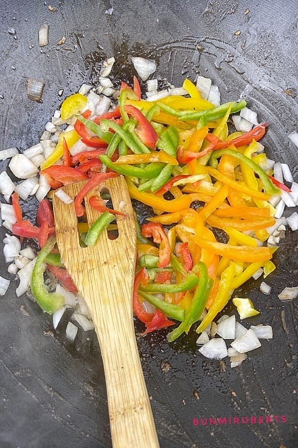 bell peppers, garlic, onions stir fry