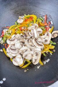 sliced mushroom, sliced bell peppers, garlic and onions stir fry