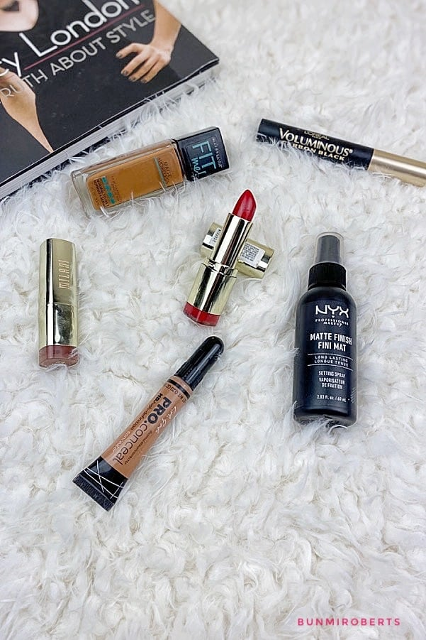Picture of Maybelline Fit me foundation, Milani red lipstick, NYX setting spray, Loreal Voluminous mascara, LA pro concealer