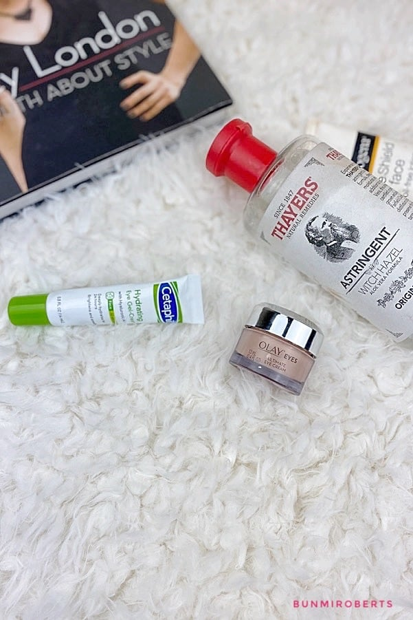 Picture of Thayers with hazel toner, cetaphil hydrating eye cream, olays eye cream and neutrogena sunscreen
