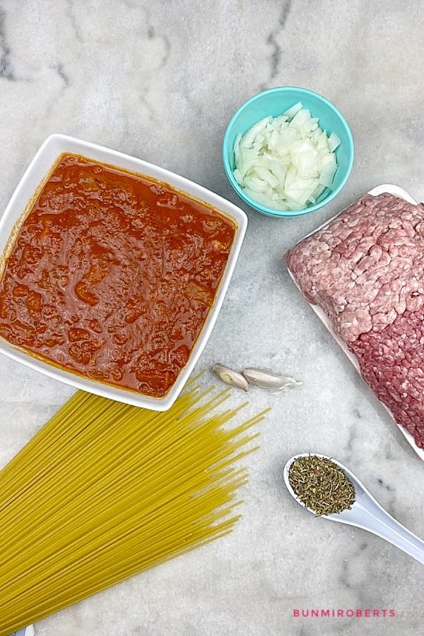 ingredients for one pot spaghetti